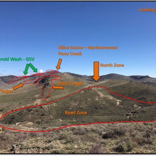 Looking north from the edge of the Bowl Zone. Photo shows the distribution of our top priority targets (West, Moleen and Elliot Dome) in relation to Gold Standard Venture's Jasperoid Wash discovery.