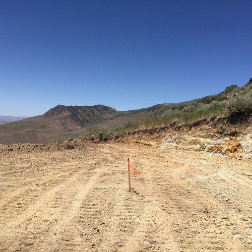 West Target drill pad preparation looking out at Gold Standard Ventures' Jasperoid Wash discovery.